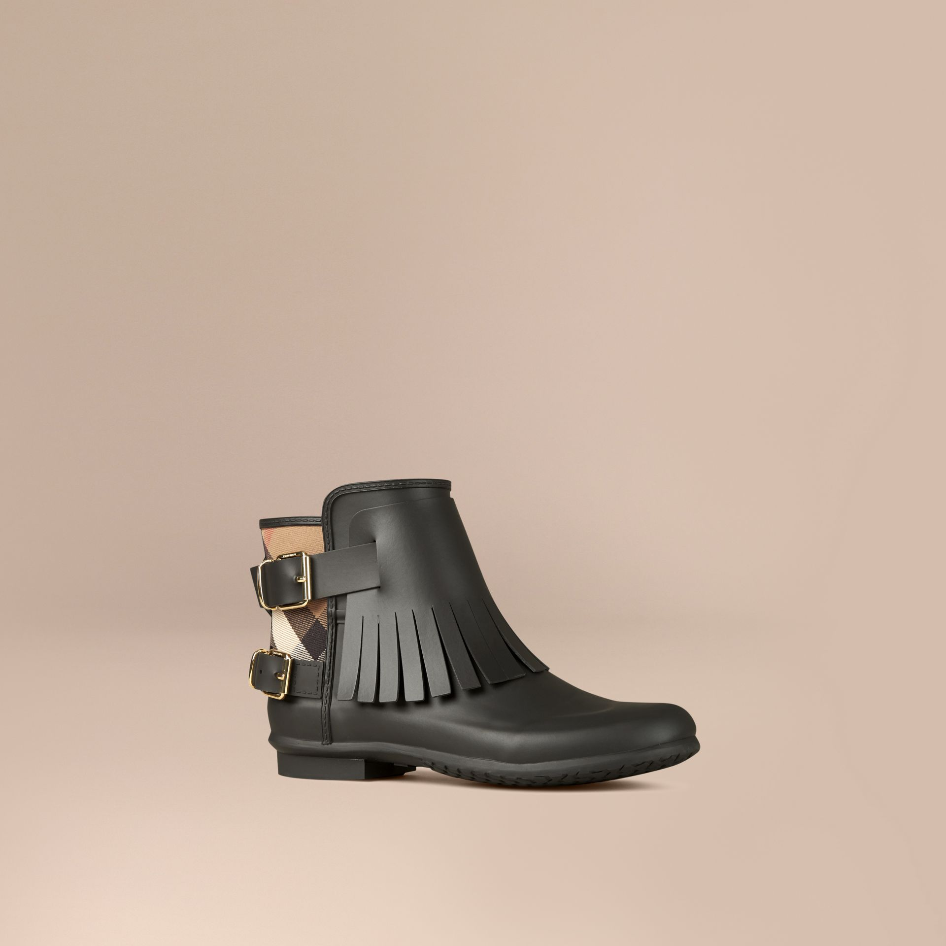 House Check and Fringed Rubber Rain Boots in Black - Women | Burberry - gallery image 1