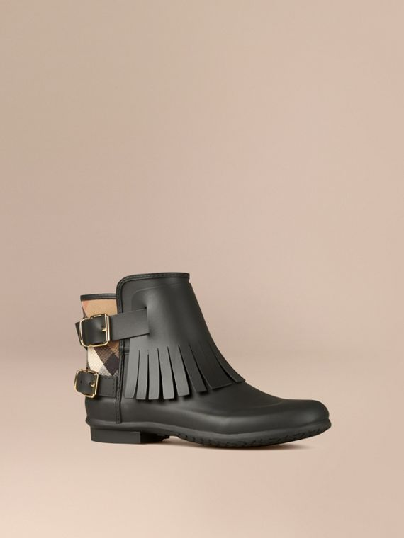 House Check and Fringed Rubber Rain Boots in Black
