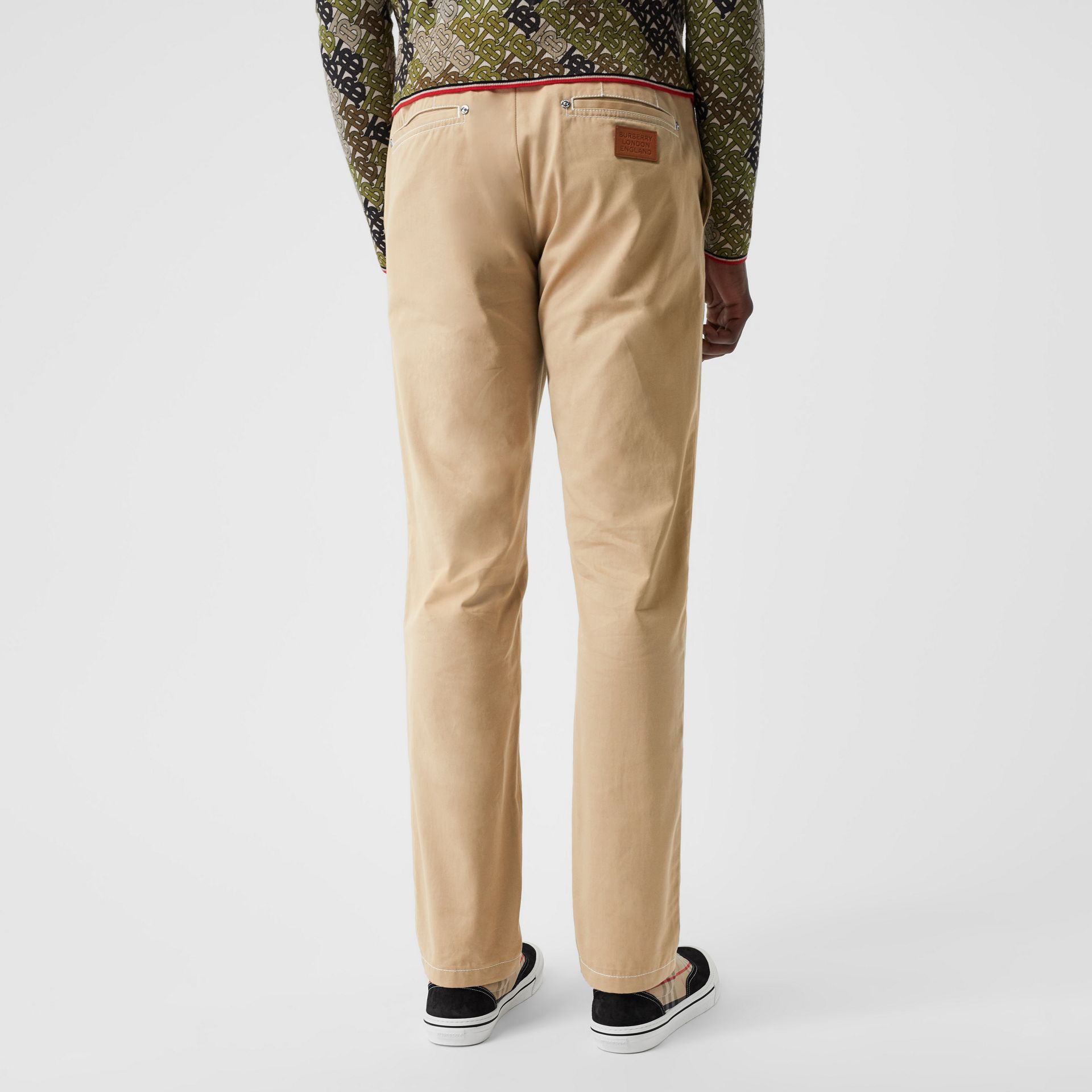 Slim Fit Topstitch Detail Cotton Chinos in Honey - Men | Burberry - gallery image 2