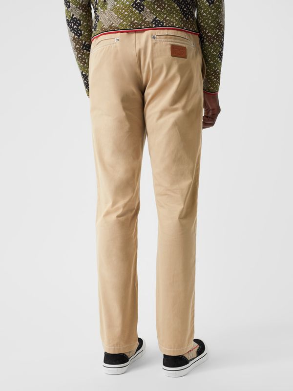 Slim Fit Topstitch Detail Cotton Chinos in Honey - Men | Burberry - cell image 2