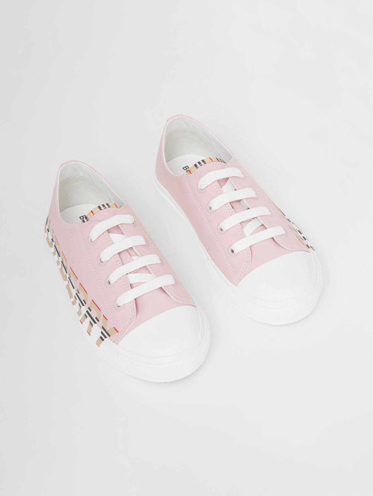 Icon Stripe Logo Print Cotton Gabardine Sneakers in Pastel Pink