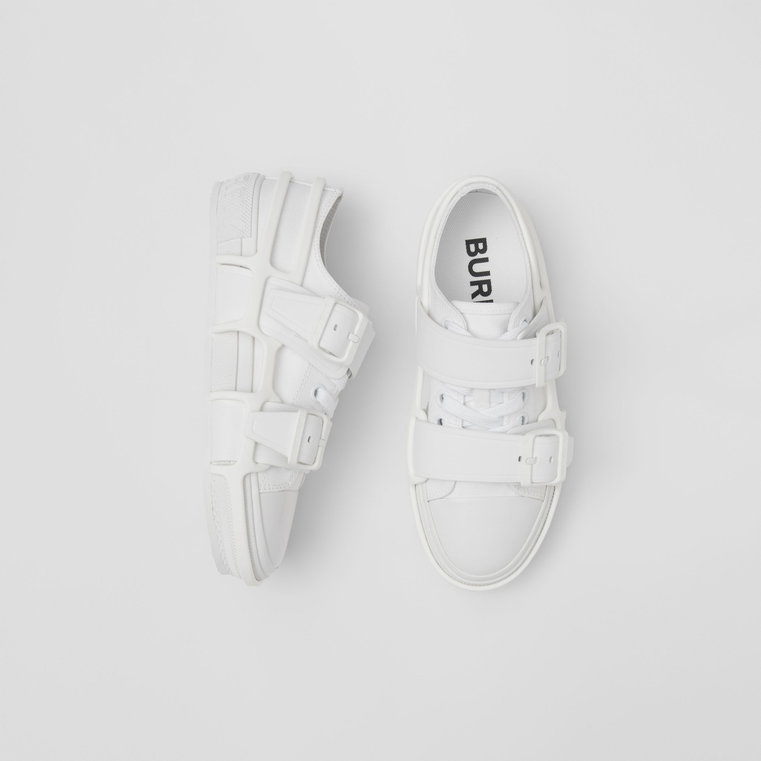 Cotton and Leather Webb Sneakers in White - Women | Burberry Canada - 1
