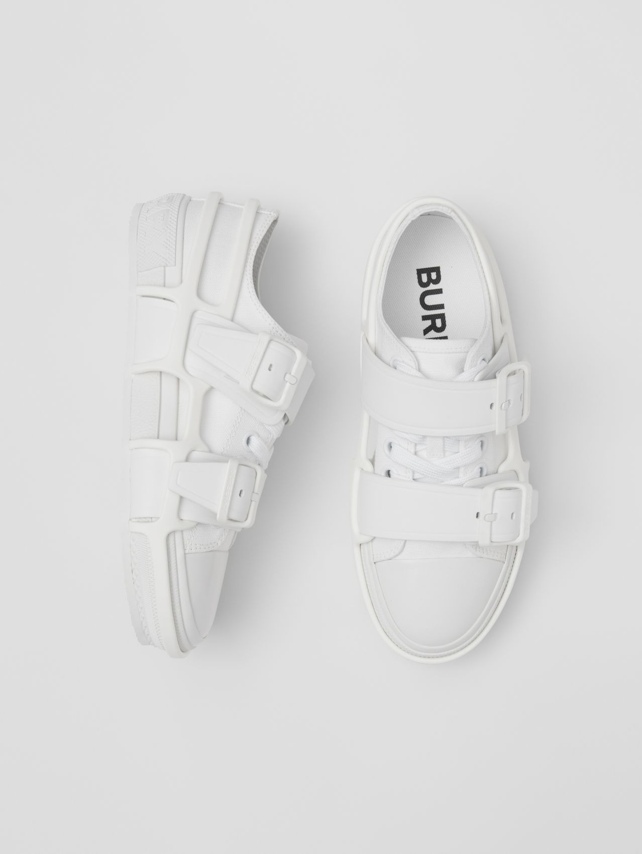 Cotton and Leather Webb Sneakers (White)