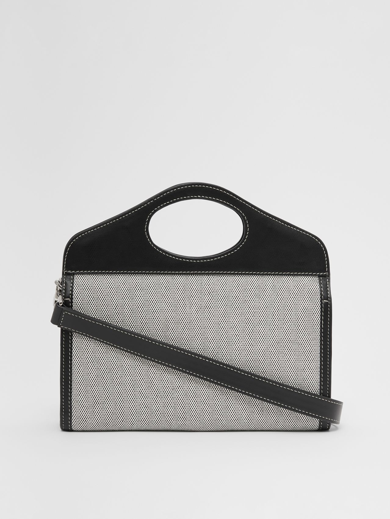Canvas and Leather Foldover Pocket Bag in Black
