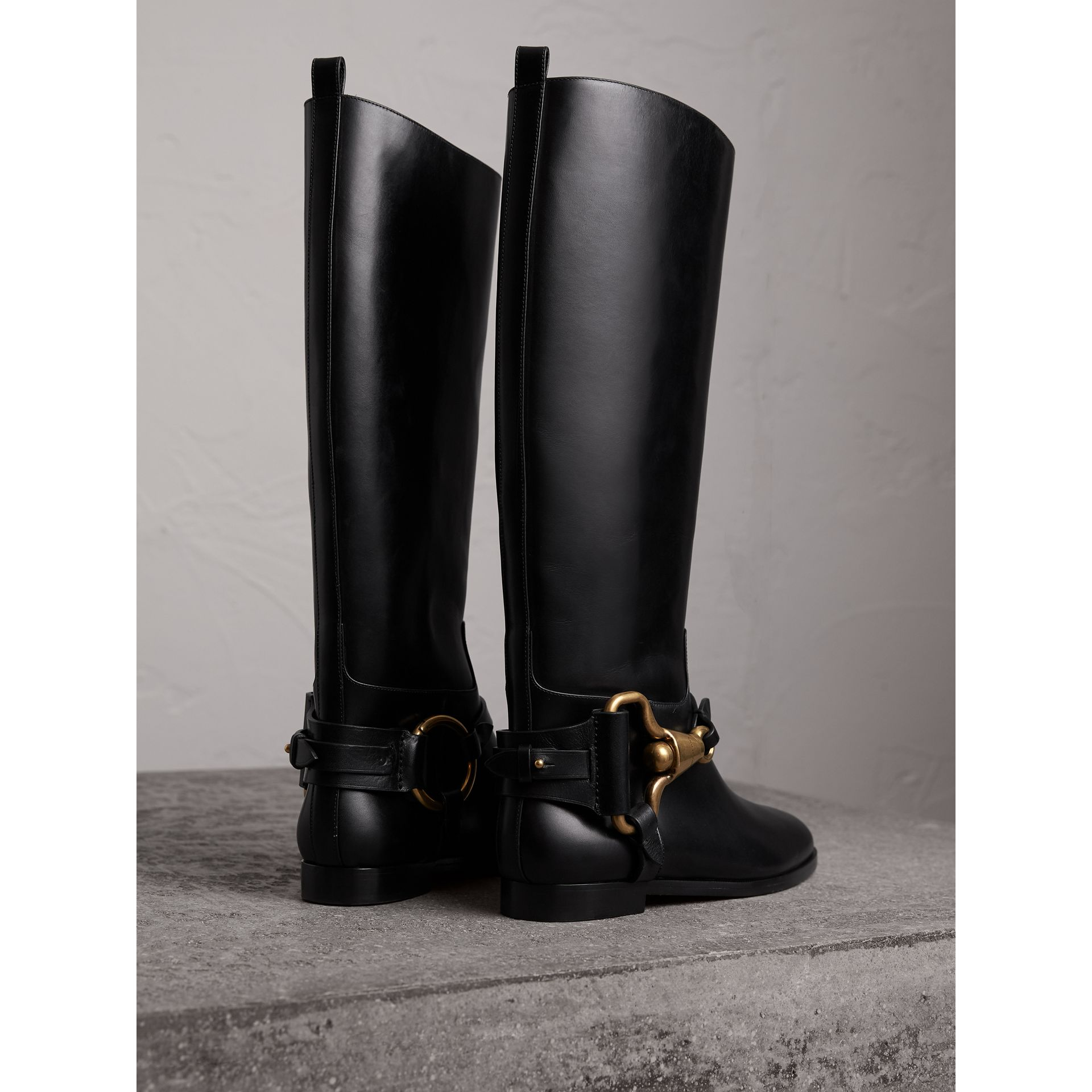 Equestrian Detail Leather Riding Boots in Black - Women | Burberry United Kingdom - gallery image 4