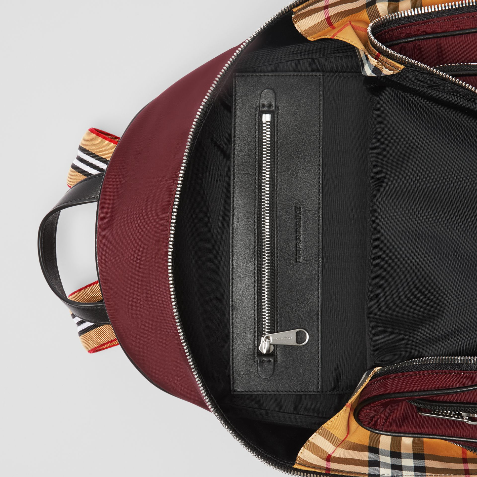 Heritage Stripe Detail Nylon Backpack in Oxblood - Men | Burberry - gallery image 5