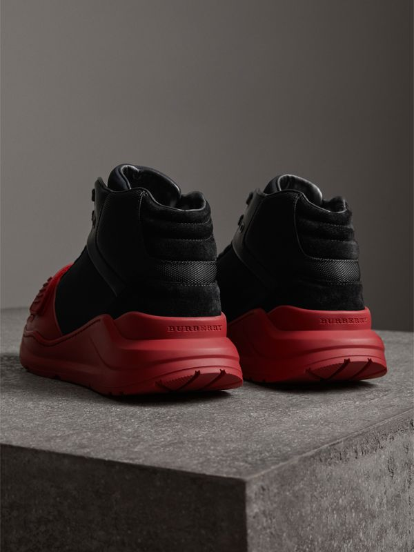 Suede and Neoprene High-top Sneakers in Black/military Red | Burberry - cell image 3