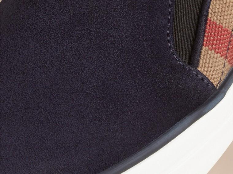 Marine Tennis sans lacets en toile à motif Canvas check et cuir velours Marine - cell image 1