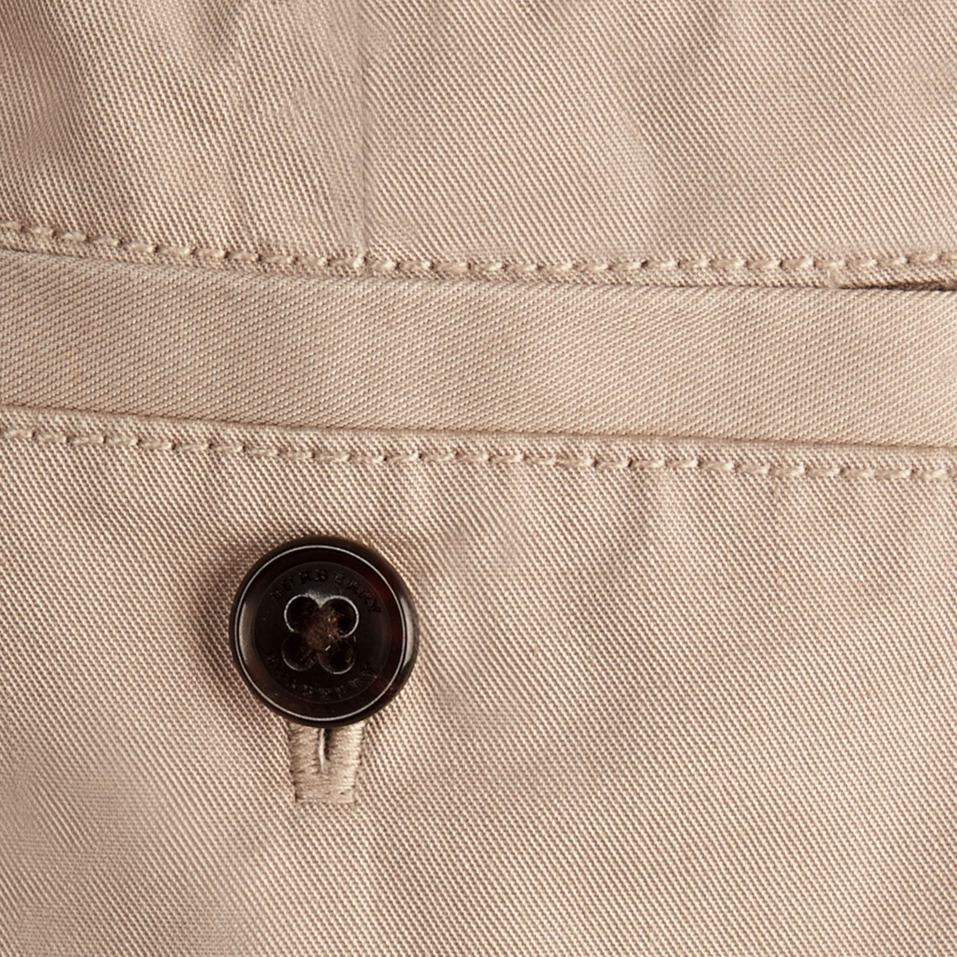 Taupe Check Detail Cotton Chino Shorts Taupe - gallery image 3