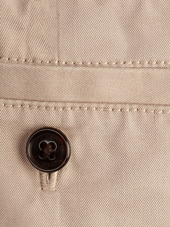 Check Detail Cotton Chino Shorts in Taupe - cell image 2
