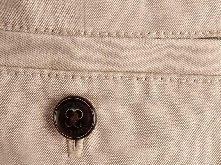 Check Detail Cotton Chino Shorts in Taupe | Burberry - cell image 2