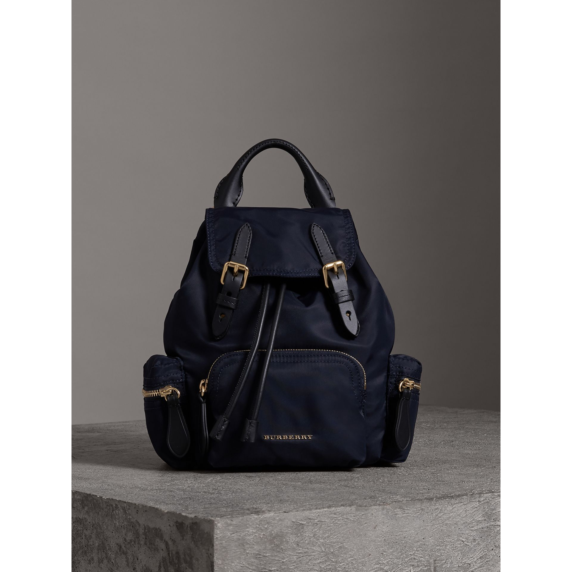The Crossbody Rucksack in Nylon and Leather in Ink Blue - Women | Burberry - gallery image 8