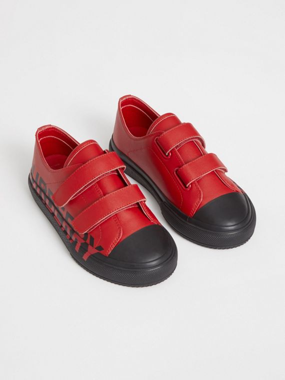 Logo Print Two-tone Leather Sneakers in Bright Red/black