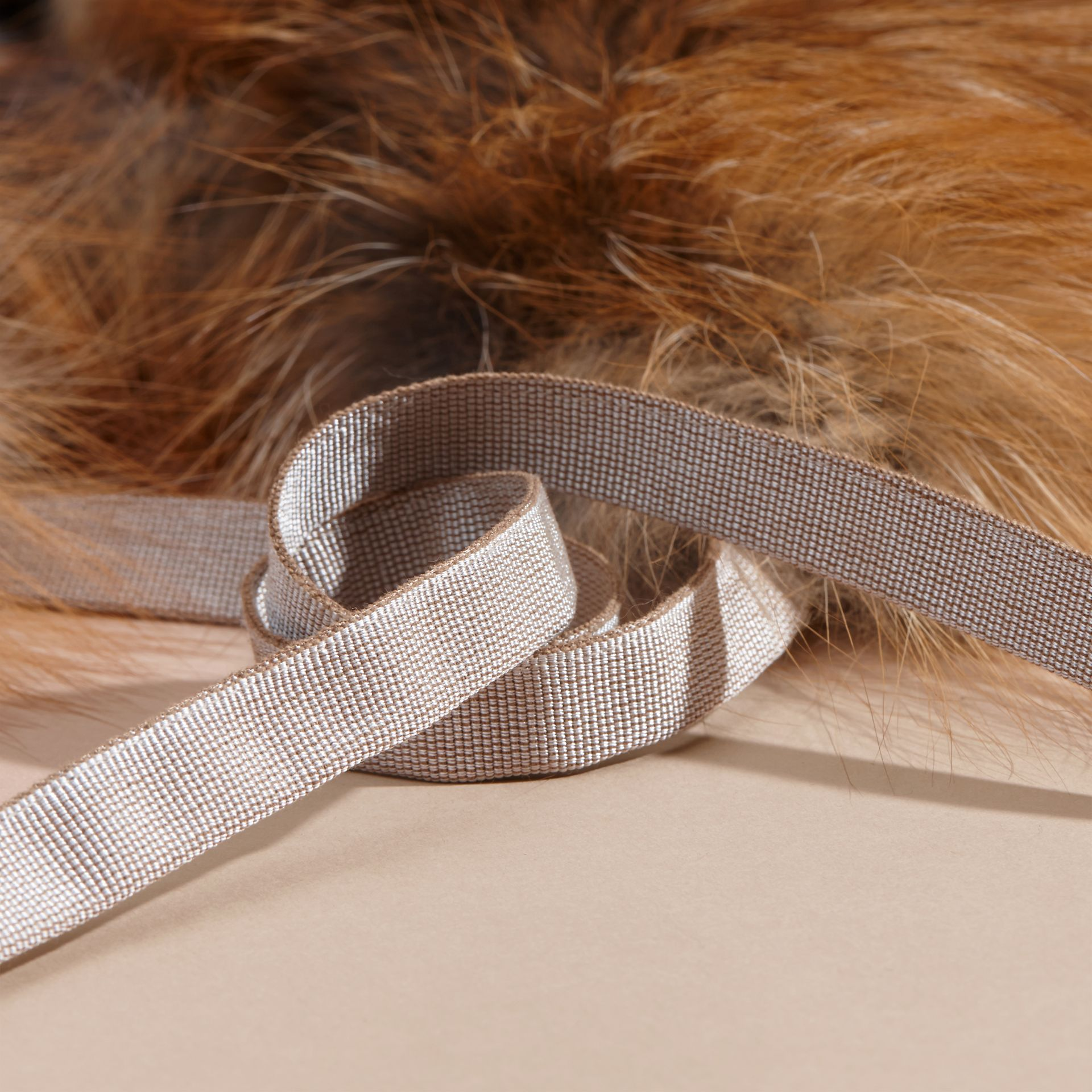 Fox Fur Collar with Check Cashmere Lining in Camel - Women | Burberry - gallery image 4
