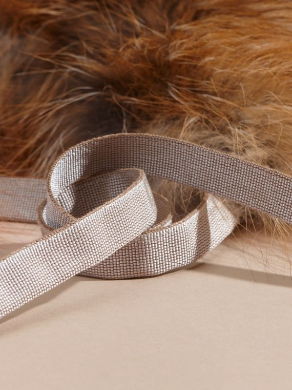 Fox Fur Collar with Check Cashmere Lining in Camel - cell image 3