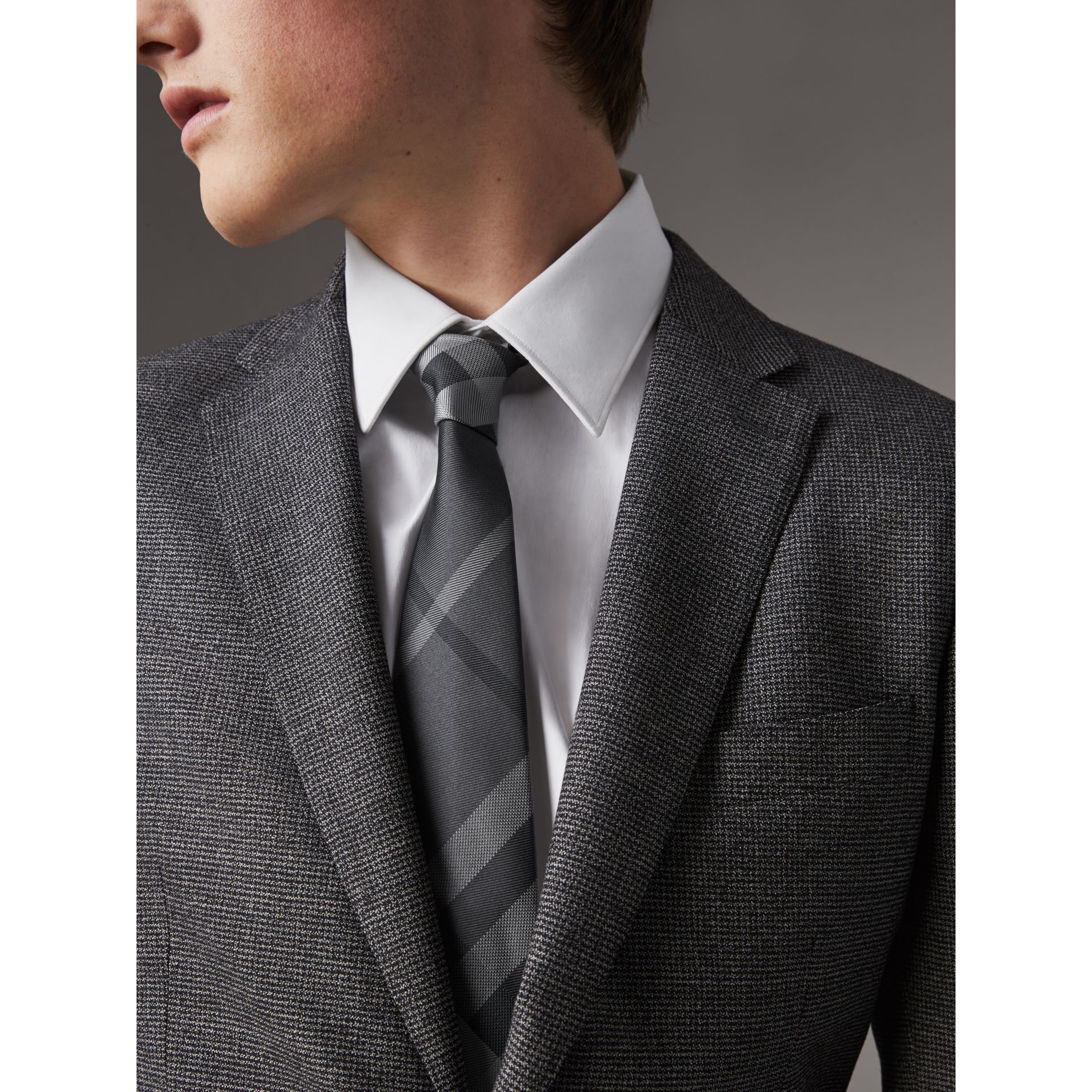 Modern Cut Patterned Silk Tie in Mid Grey - Men | Burberry Canada - gallery image 3