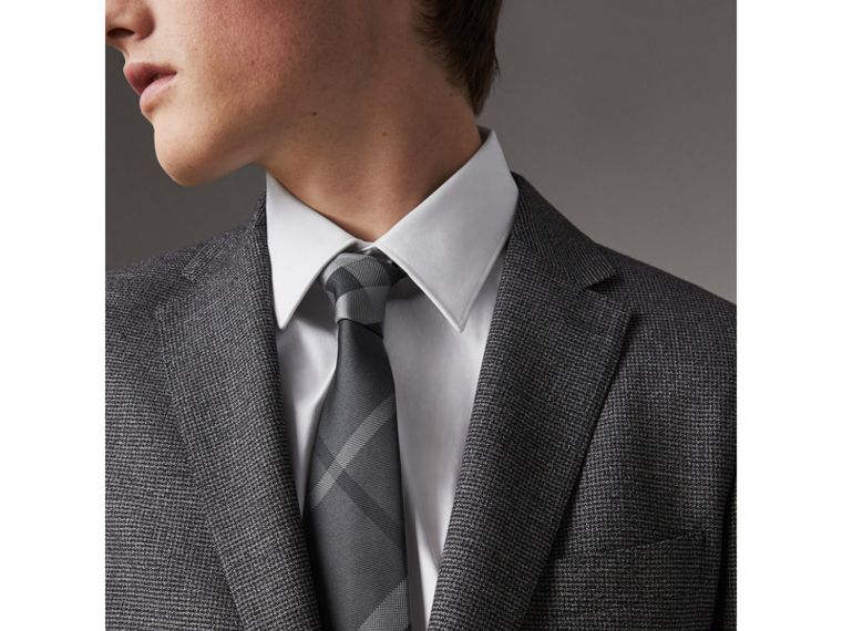 Modern Cut Patterned Silk Tie in Mid Grey - Men | Burberry Canada - cell image 2