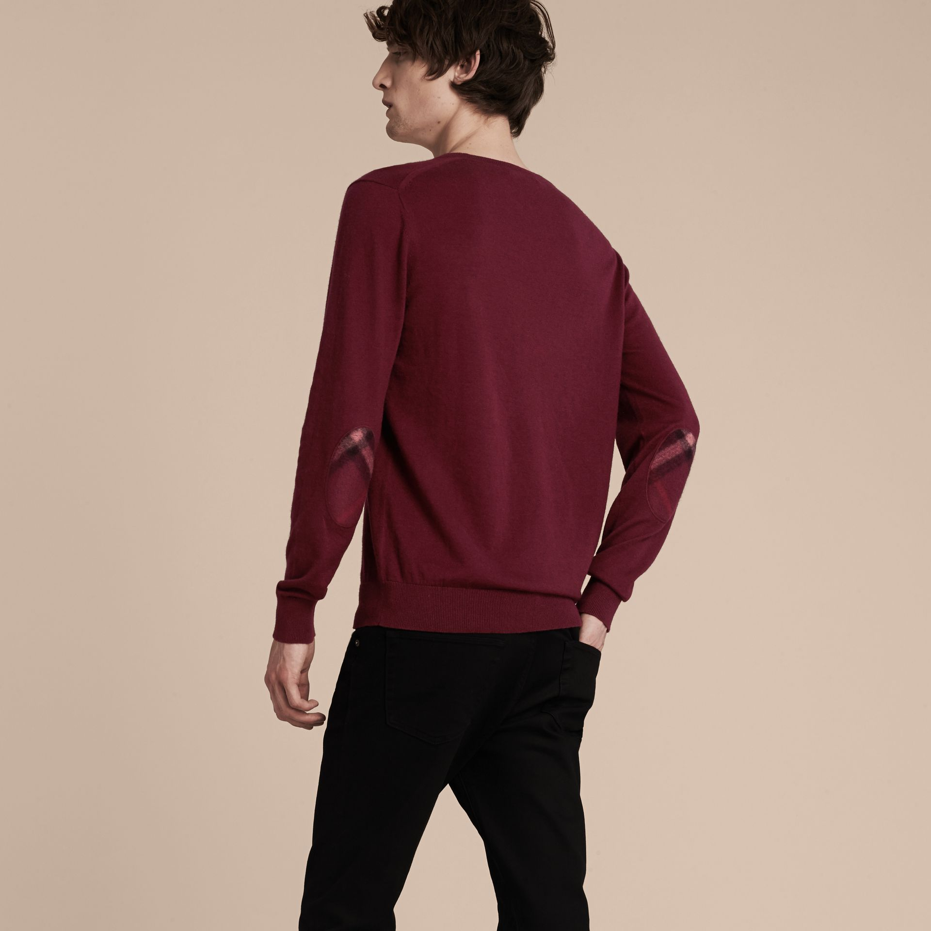 Check Trim Cashmere Cotton Sweater Claret - gallery image 3