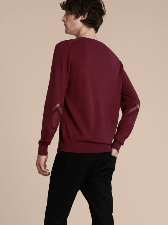 Check Trim Cashmere Cotton Sweater Claret - cell image 2