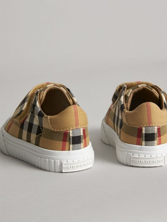 Vintage Check and Leather Sneakers in Antique Yellow/optic White | Burberry United Kingdom - cell image 2
