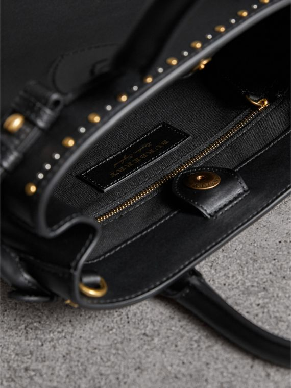 The Small Banner in Riveted Leather in Black - Women | Burberry Australia - cell image 3