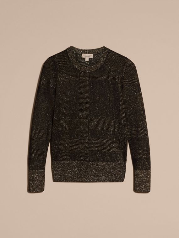 Black Metallic Check Wool Blend Sweater - cell image 3