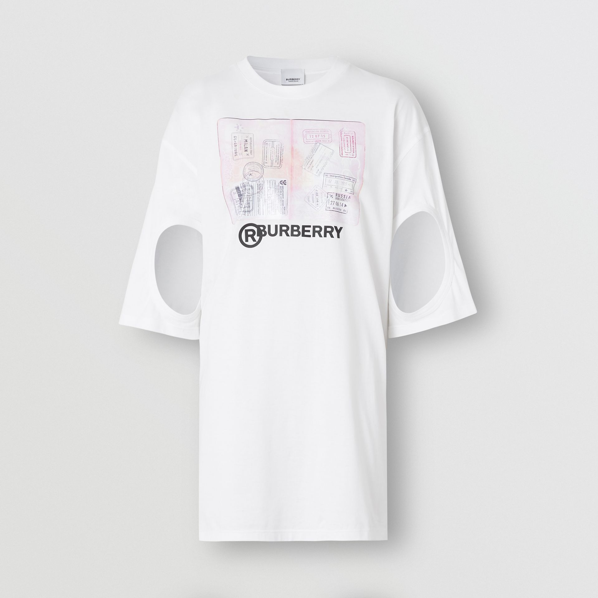 Cut-out Detail Montage Print Cotton Oversized T-shirt in Optic White - Women | Burberry United States - gallery image 3