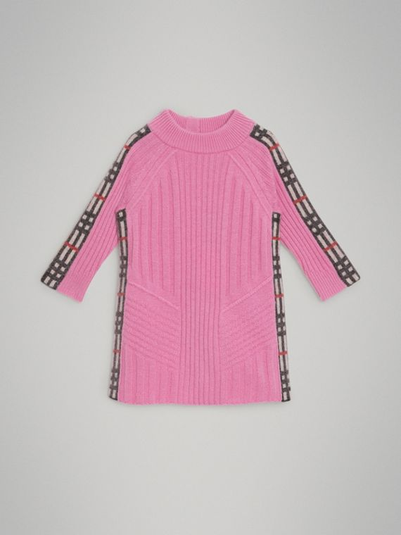 Check Detail Wool Cashmere Dress in Rose Pink