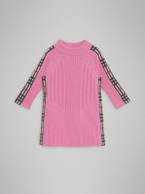Robe en laine et cachemire avec détails check (Rose Pink)
