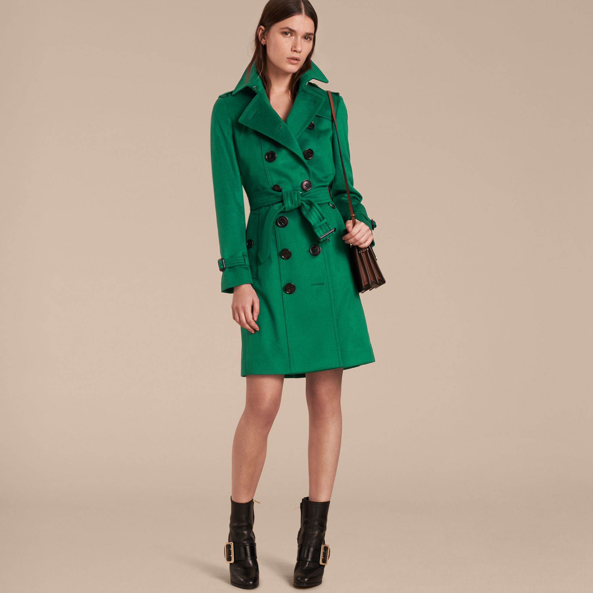 Sandringham Fit Cashmere Trench Coat Kelly Green - gallery image 7