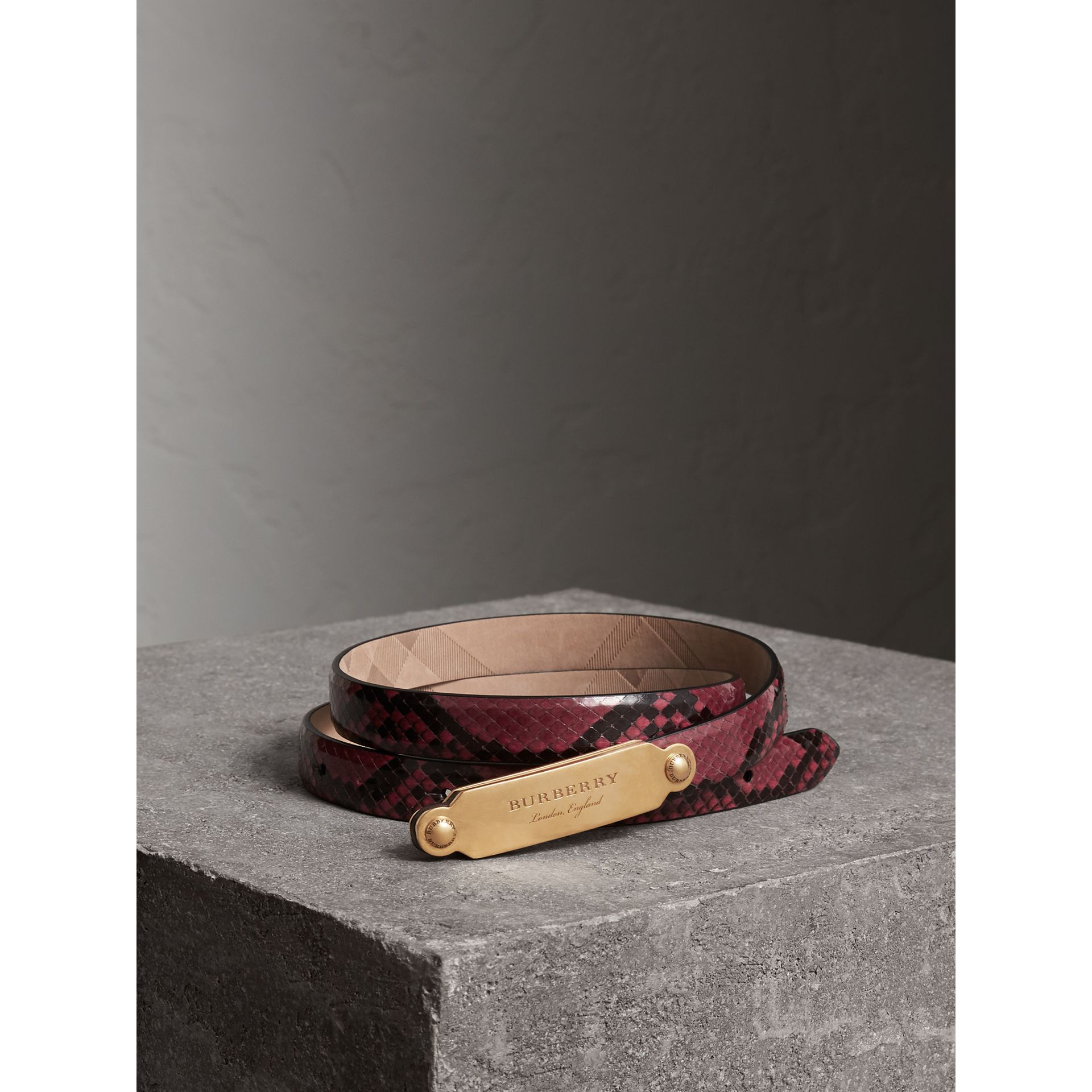 Brass Plaque Buckle Python Belt in Claret Pink - Women | Burberry - gallery image 0