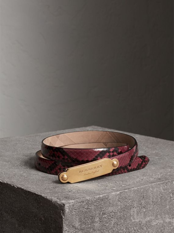 Brass Plaque Buckle Python Belt in Claret Pink