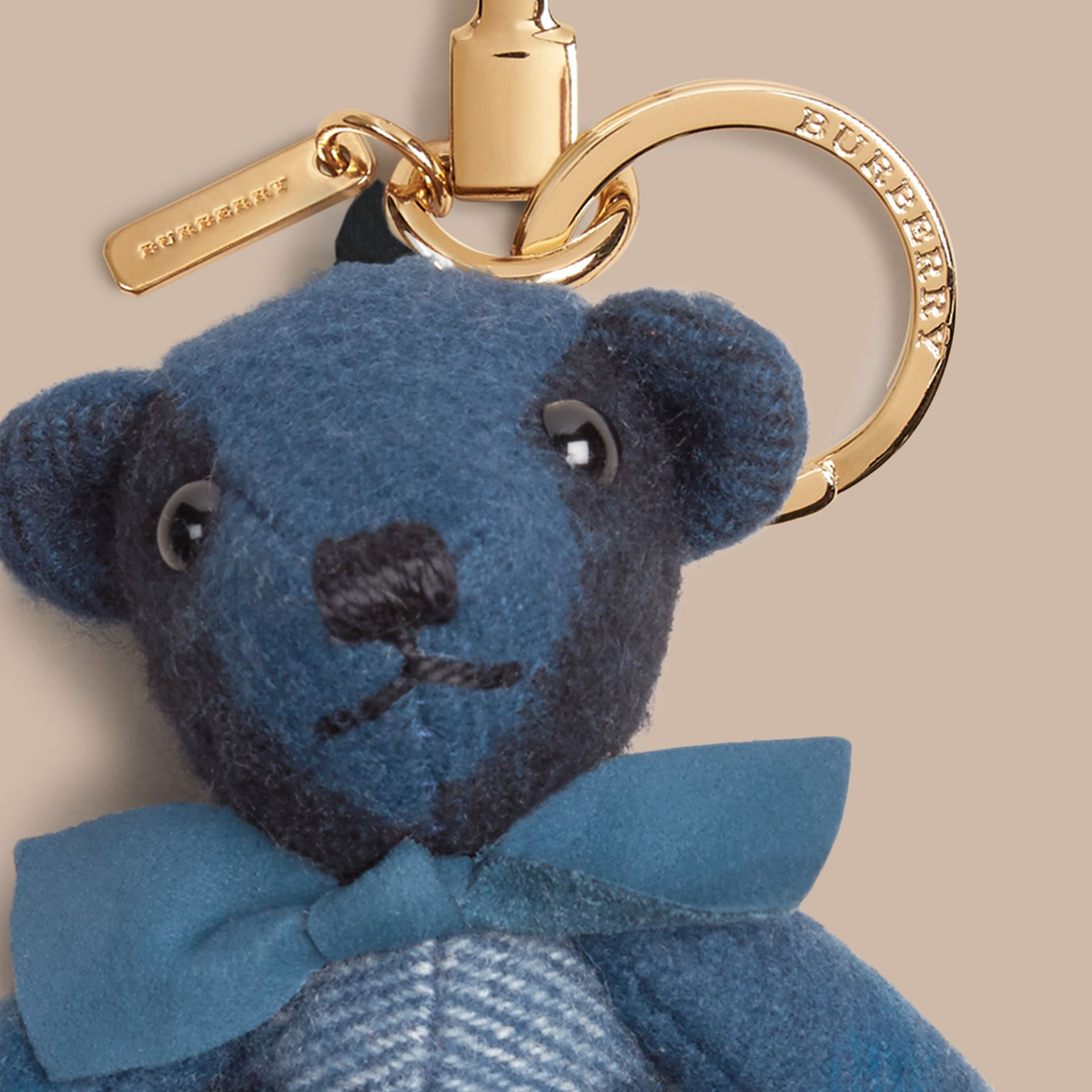 Marine blue Thomas Bear Charm in Check Cashmere Marine Blue - gallery image 2