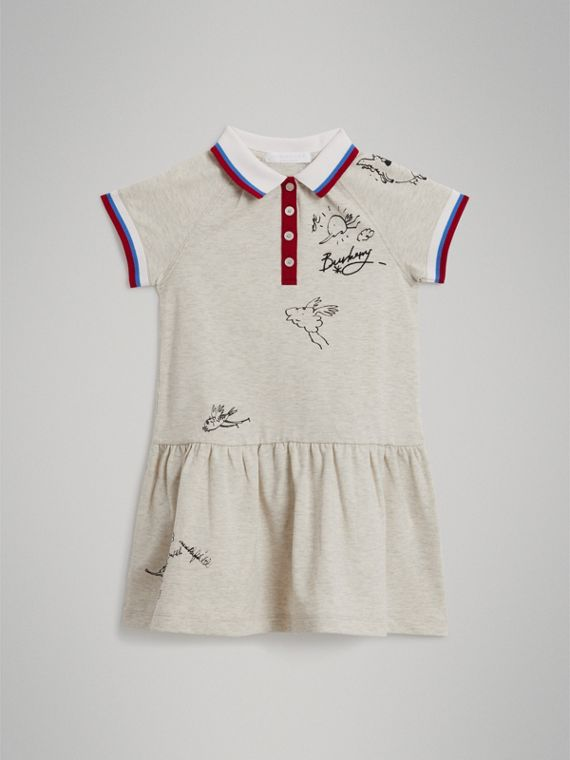 Stretch Cotton Polo Dress in White Melange - Girl | Burberry - cell image 2