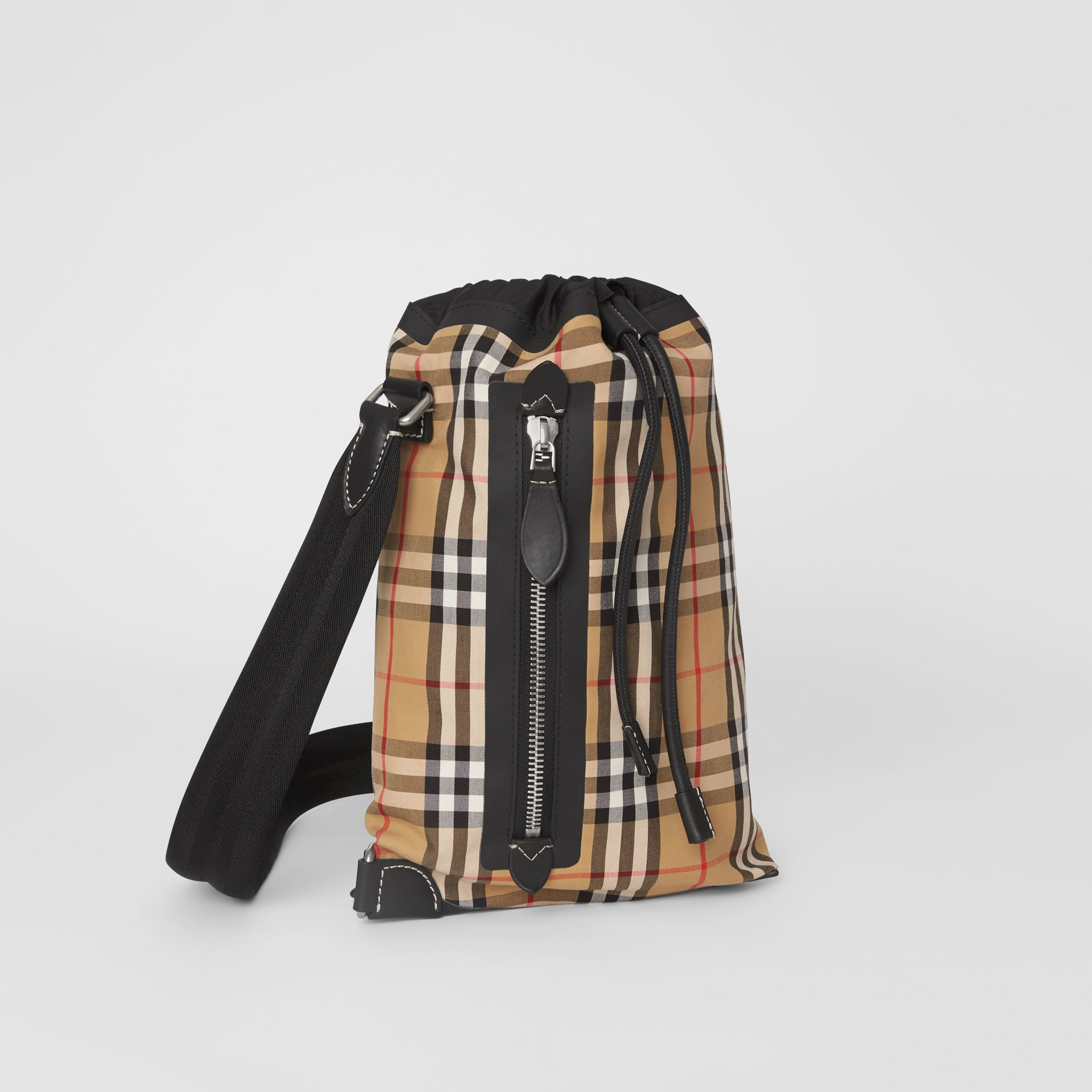 Small Vintage Check Canvas Duffle Bag in Antique Yellow - Women | Burberry - gallery image 6