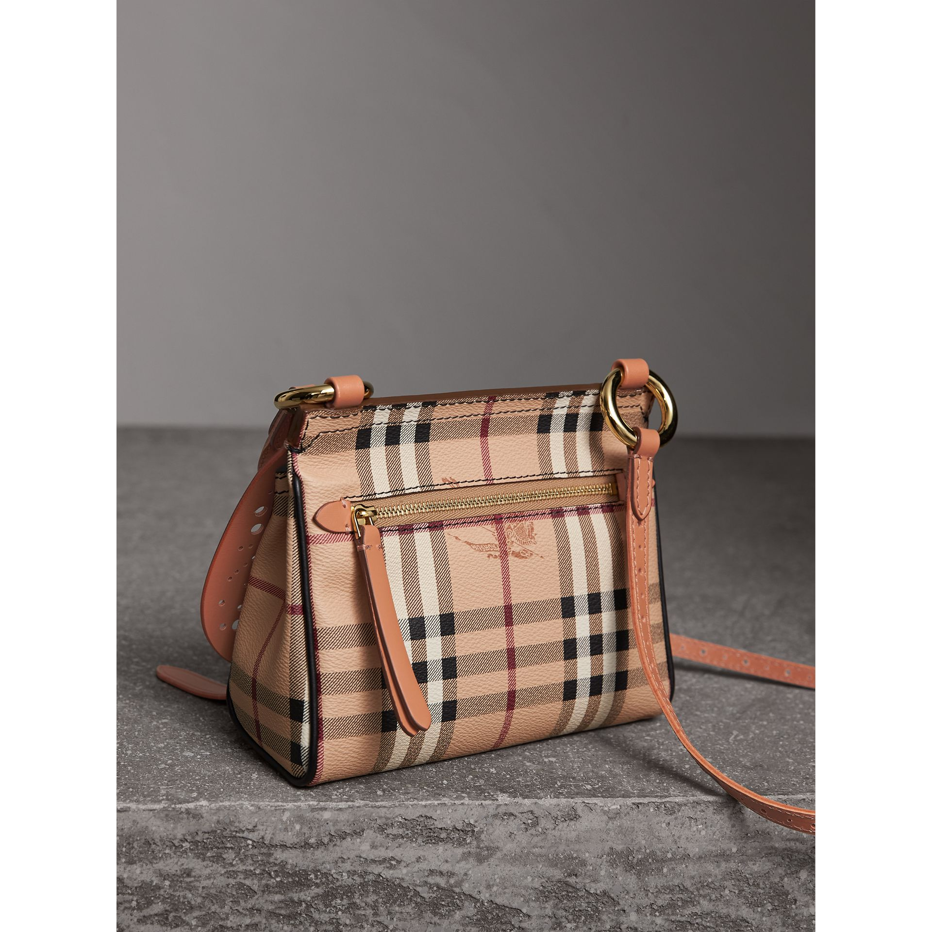 The Baby Bridle Bag in Leather and Haymarket Check in Pale Clementine - Women | Burberry - gallery image 4