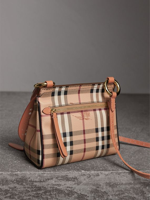 The Baby Bridle Bag in Leather and Haymarket Check in Pale Clementine - Women | Burberry - cell image 3