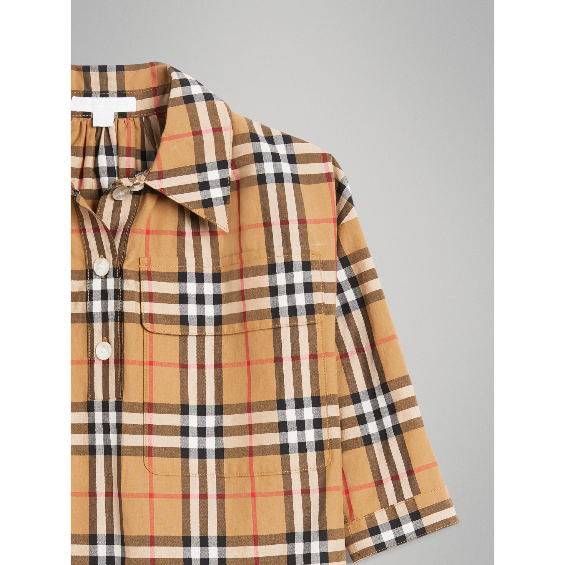 Vintage Check Shirt Dress in Antique Yellow - Girl | Burberry - gallery image 4