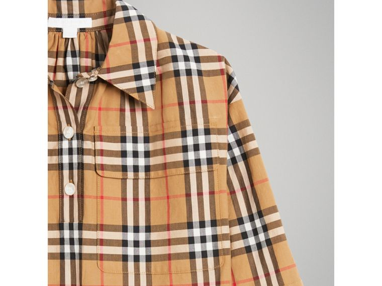 Vintage Check Shirt Dress in Antique Yellow - Girl | Burberry - cell image 4