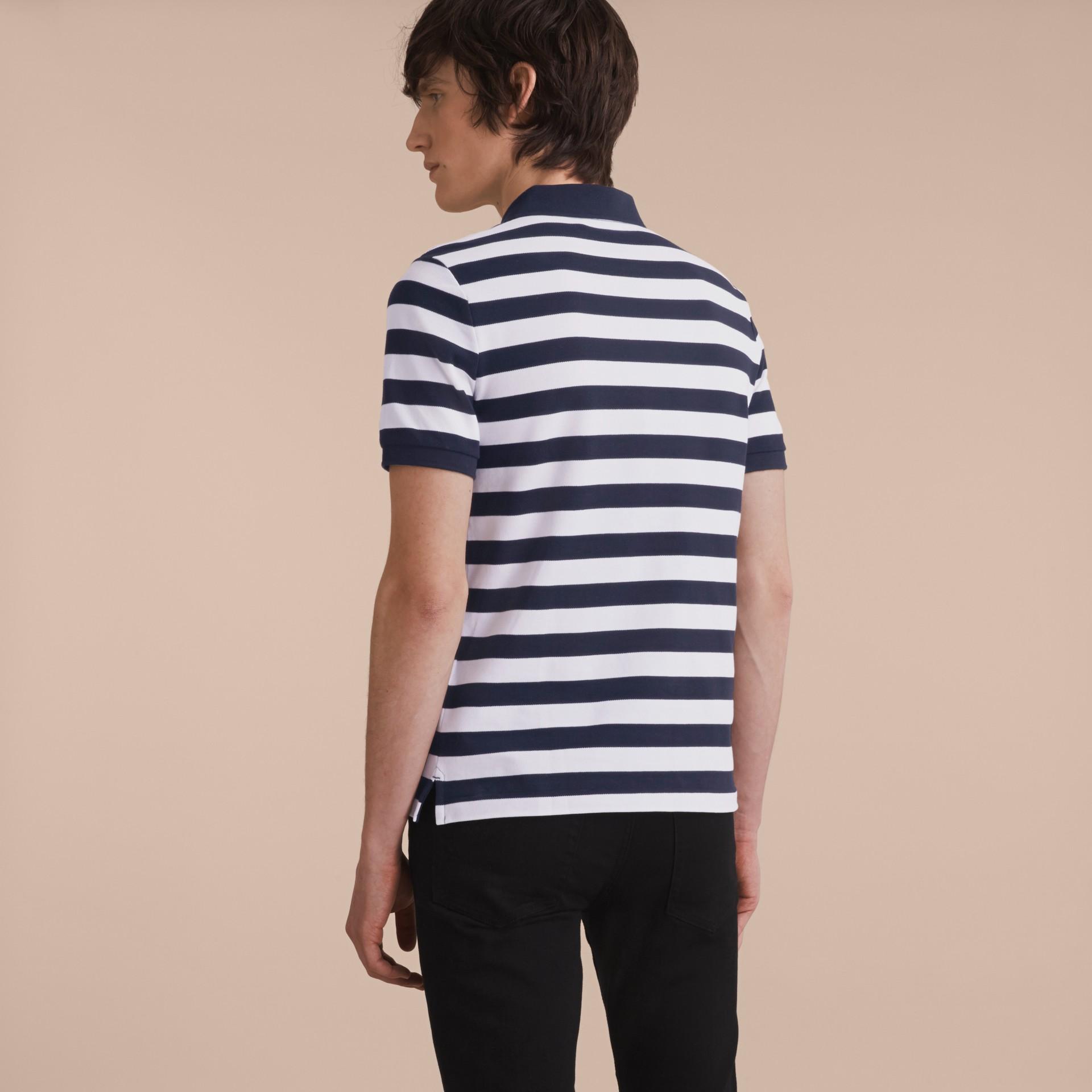 Striped Cotton Polo Shirt White/navy - gallery image 3