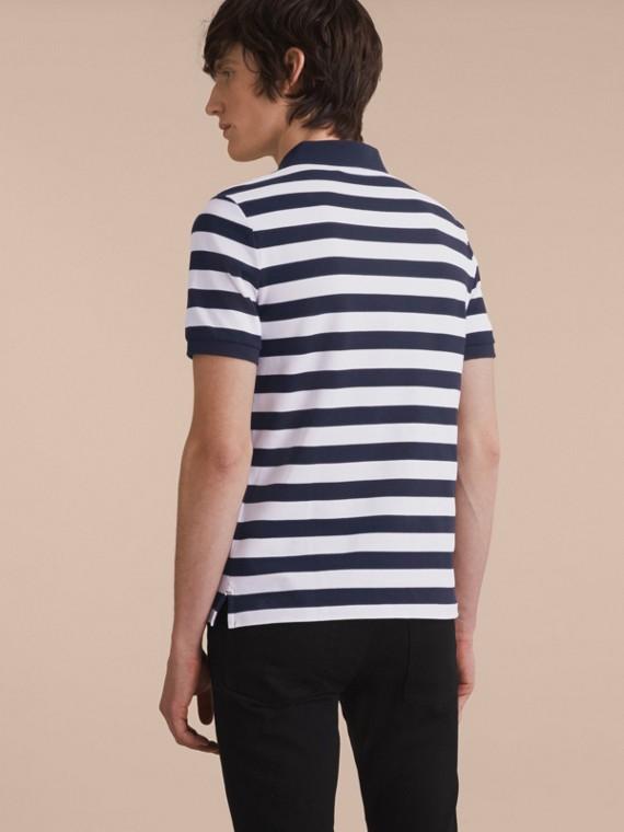 Striped Cotton Polo Shirt White/navy - cell image 2