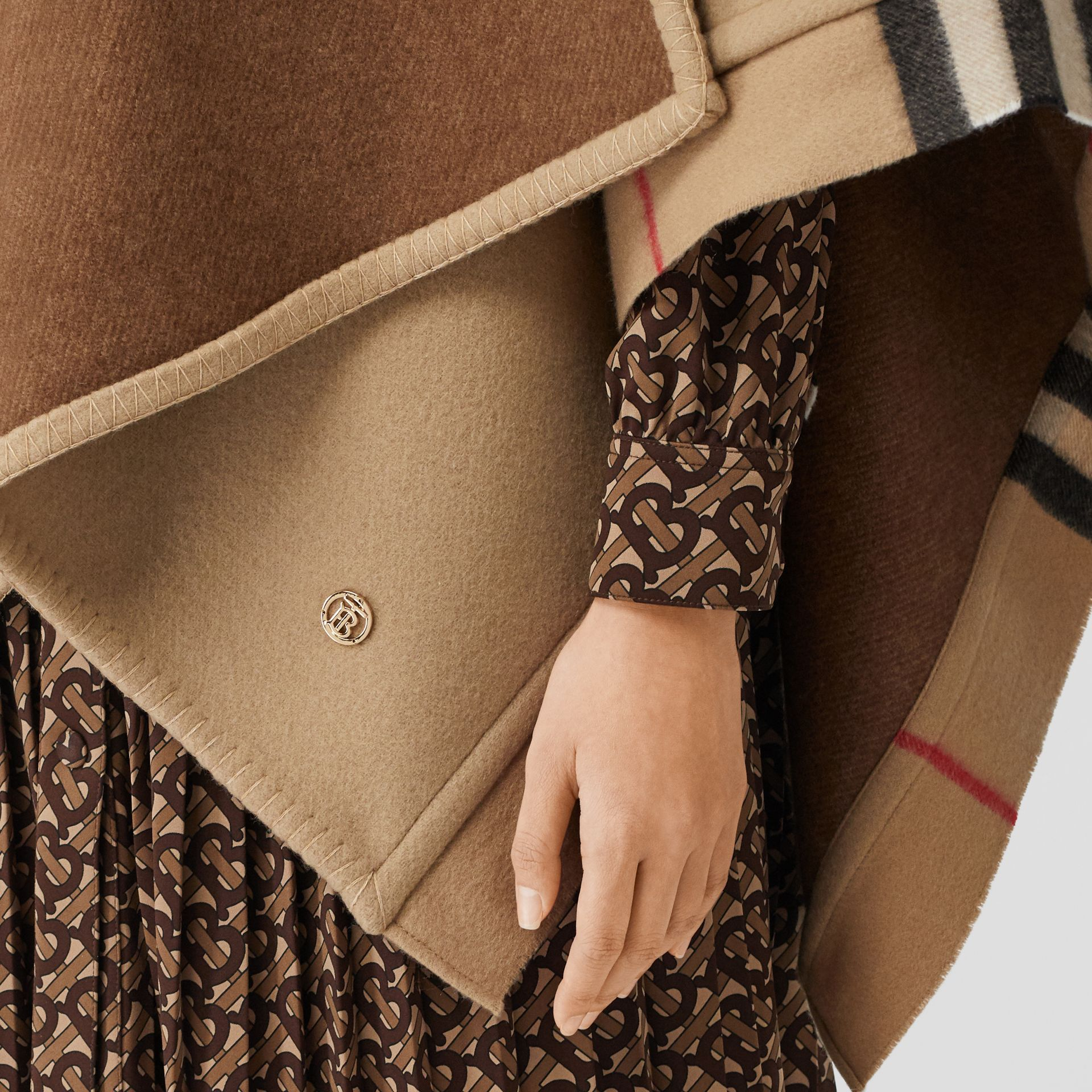 Check Trim Wool Cashmere Cape in Archive Beige - Women | Burberry - gallery image 4