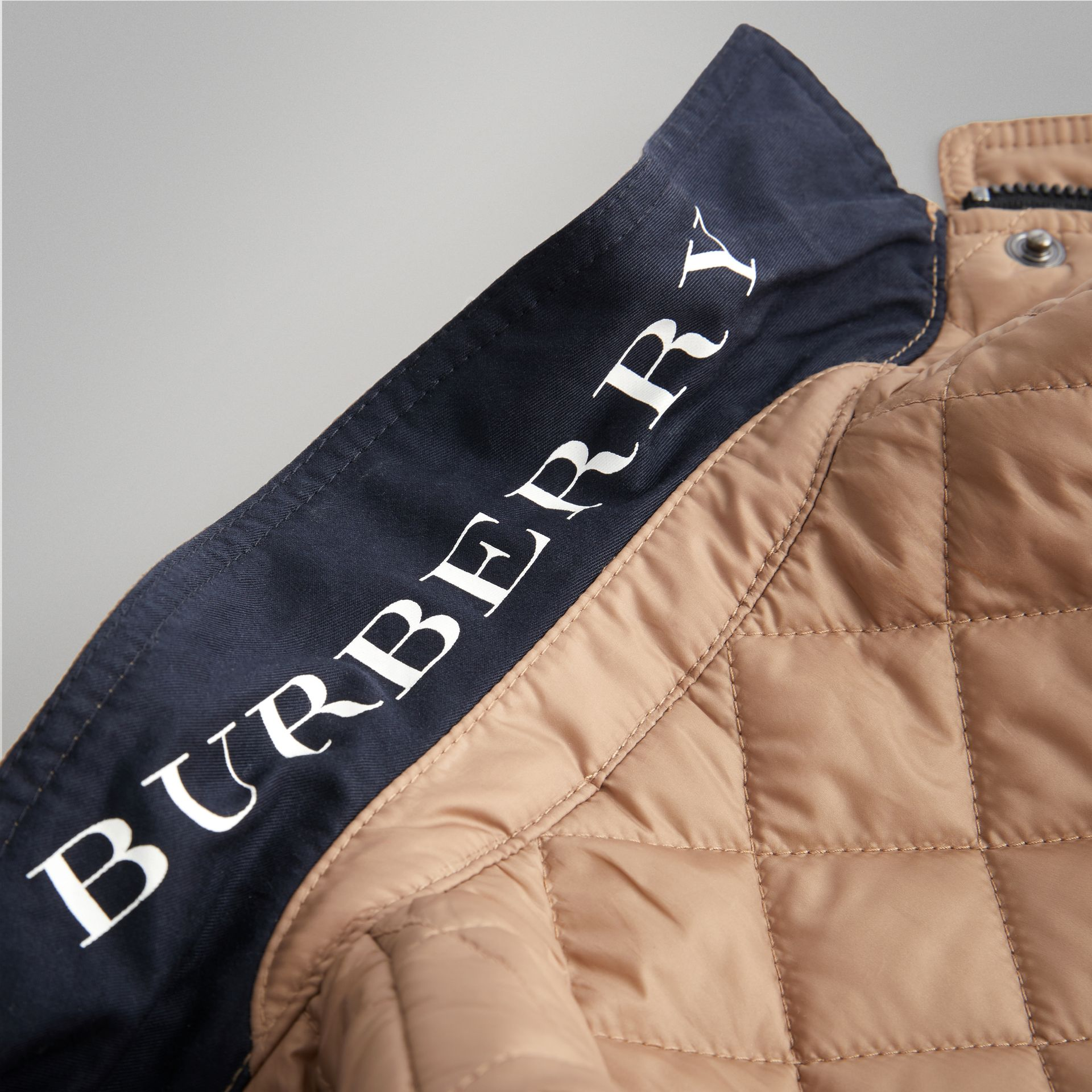 Lightweight Diamond Quilted Jacket in Camel - Children | Burberry - gallery image 1