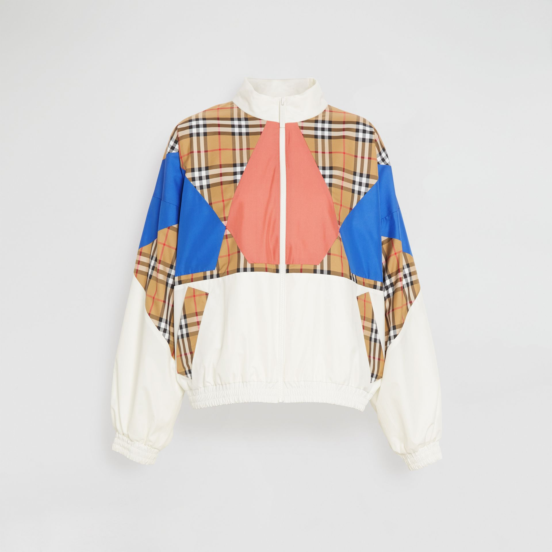 Vintage Check Panel Silk Shell Suit Jacket in White - Women | Burberry - gallery image 3
