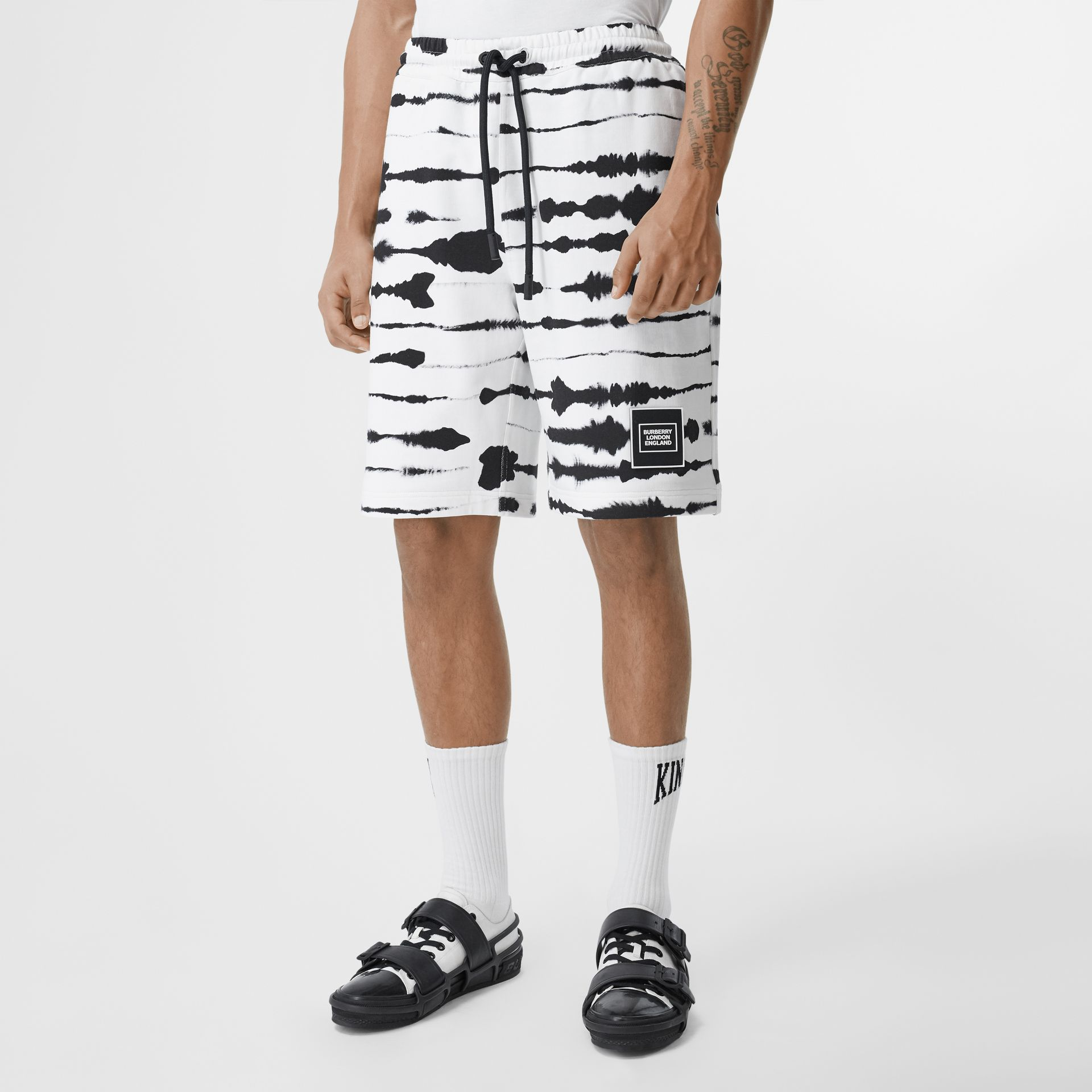 Watercolour Print Cotton Drawcord Shorts in Black/white - Men | Burberry - gallery image 4