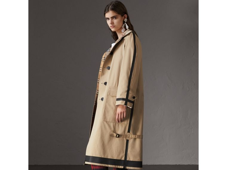 Reversible Vintage Check Gabardine Car Coat in Antique Yellow - Women | Burberry Australia - cell image 4