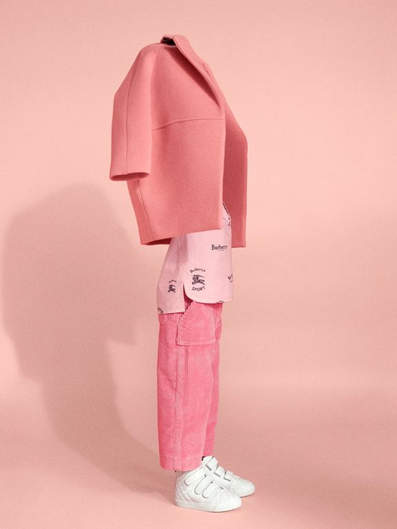 Corduroy Wide-leg Trousers in Bright Rose | Burberry - cell image 1