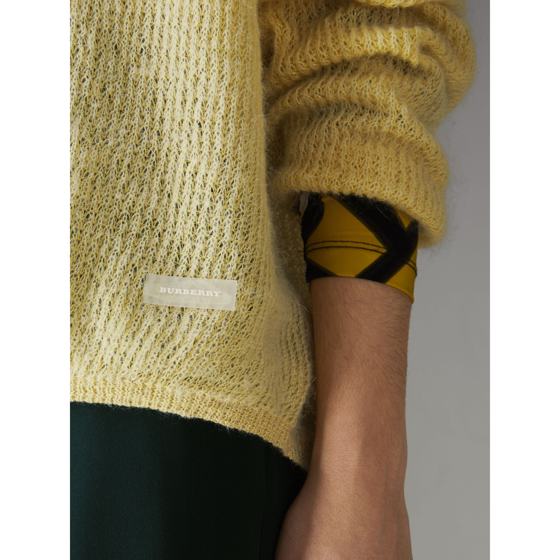 Mohair Silk Blend Sweater in Yellow Barley - Women | Burberry United Kingdom - gallery image 1