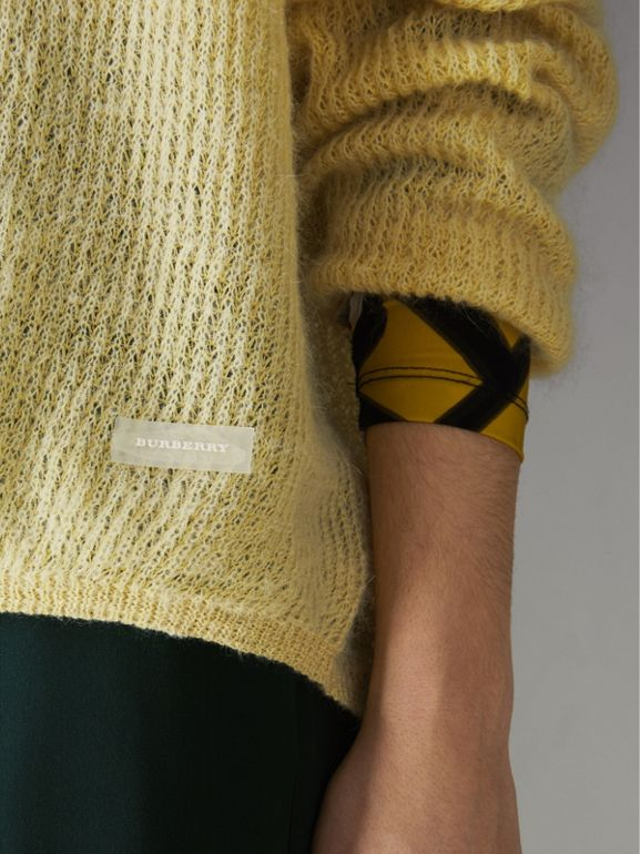 Mohair Silk Blend Sweater in Yellow Barley - Women | Burberry Hong Kong - cell image 1