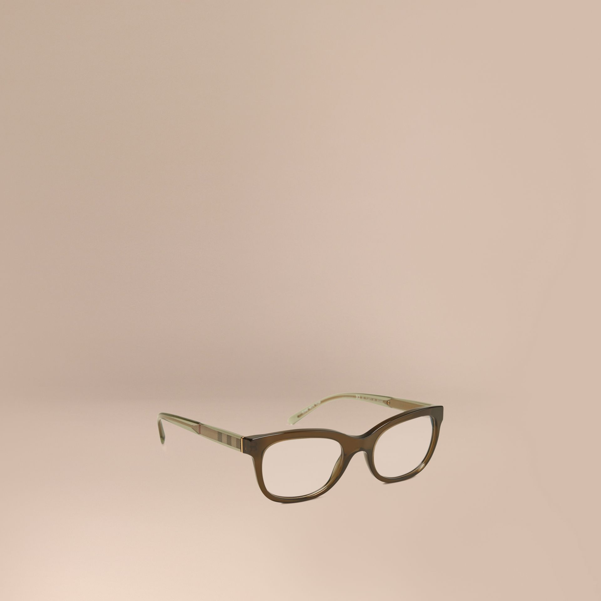 Olive Check Detail Oval Optical Frames Olive - gallery image 1